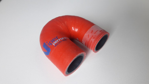 25mm 180° Silikon Schlauchbogen Rot Short Leg